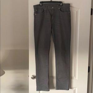Levi Men's Denim Jeans Gray 35x34 Straight Fit